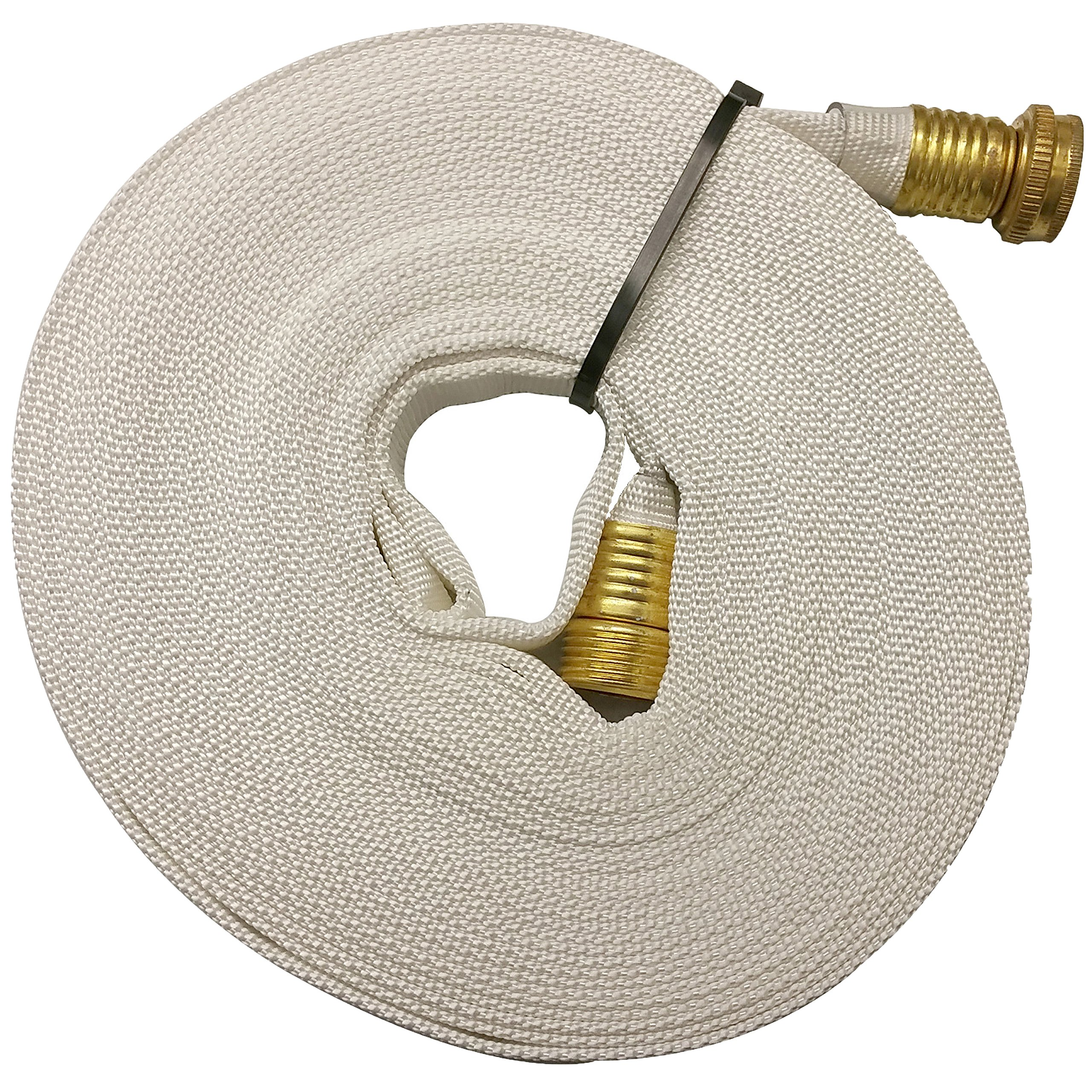 Key Fire 017-FF058-450 Polyester/Polyurethane/Brass/Plastic/Rubber 1061 Pencil Line Lay Flat Garden Hose, GHT Connection, 300 psi Maximum Pressure, 50' Length, 5/8''