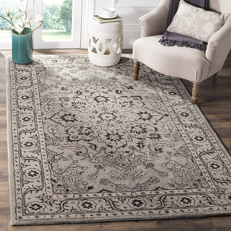 Amazon Com Safavieh Antiquity Collection At58a Handmade Traditional Oriental Premium Wool Area Rug 6 X 9 Grey Beige Furniture Decor