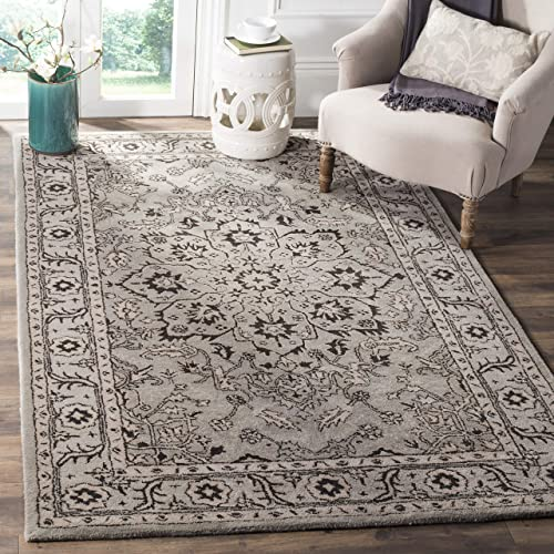 Safavieh Antiquities Collection AT58A Oriental Persian Floral Medallion Grey and Beige Premium Wool Area Rug 5 x 8