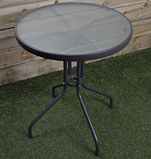 60 cm redondo mesa con tablero de cristal para jardín Patio ...