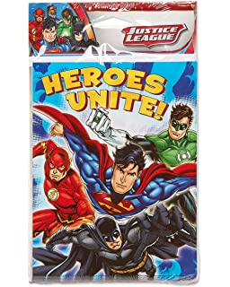 Amazon justice league party supplies invitations 8 count american greetings justice league invite and thank you combo pack 8 count stopboris Choice Image