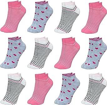 LOREZA ® 12 Pares Calcetines Cortos para Niña Algodón 21 a la 36