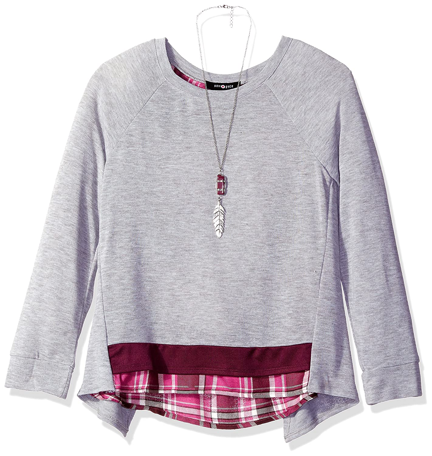 Amy Byer Big Girls' Long Sleeve Crossover Back Knit Top