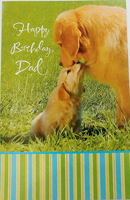 Amazon happy birthday dad w golden retriever dogs greeting happy birthday dad w golden retriever dogs greeting card quotyou sure are m4hsunfo