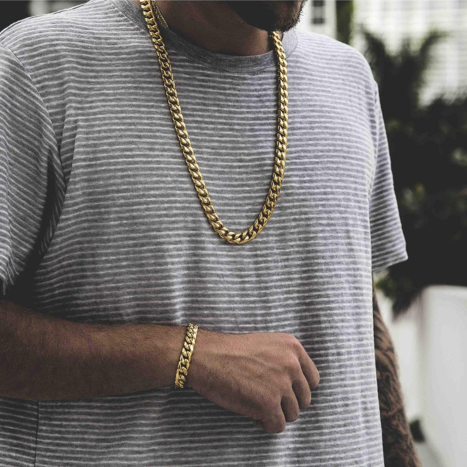 14K Gold//White Gold Plated Stainless Steel Cuban Link Choker Necklace 8mm,10mm,12mm,14mm,16mm TRIPOD JEWELRY Heavy Thick Mens Hip Hop Miami Cuban Link Chain//Bracelet