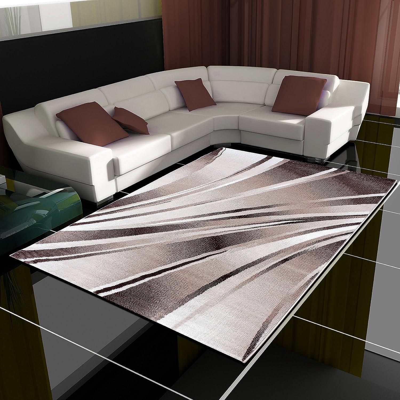 HomebyHome Moderner Design Teppich Wellen Teppich Kurzflor Wohnzimmer versc. Farben Größen, Farbe Braun, Größe 200x290 cm