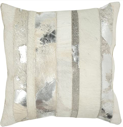 Safavieh Pillow Collection Throw Pillows, 18 by 18-Inch, Peyton Silver, Set of 2