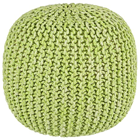Cool Pouf Ottoman 2 Tone Cotton Rope Green 16 Inch Lamtechconsult Wood Chair Design Ideas Lamtechconsultcom