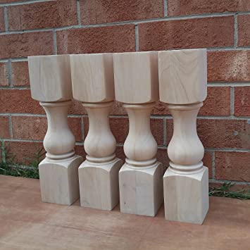 18u0026quot; Traditional Bench Legs Or Coffee Table Legs  Unfinished Wood,  Wide  Set