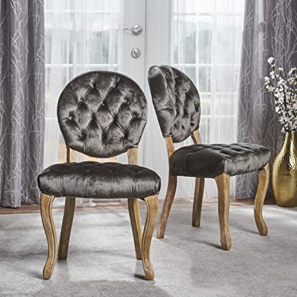 Bushwood Tufted Velvet Dining Chairs | Elegant Dining Room Furniture With  Victorian Accents | Two (
