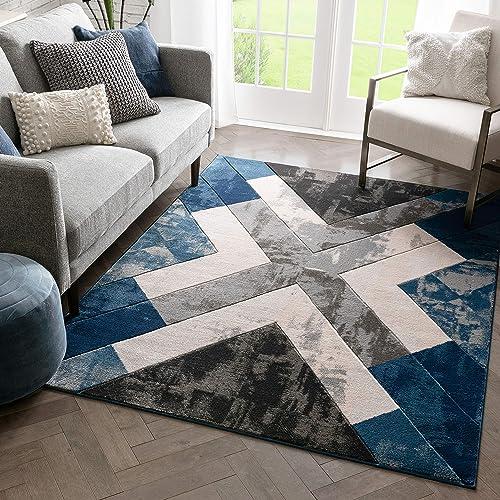 Well Woven Rheta Blue Modern Geometric Stripes Angles Pattern Area Rug 8×10 7 10 x 10 6