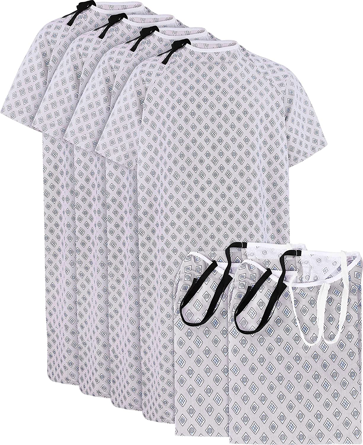 """Utopia Care 6 Pack Cotton Blend Hospital Gown, Back Tie, 45"""" Long & 61"""" Wide, Patient Gowns Comfortably Fits Sizes up to 2XL"""
