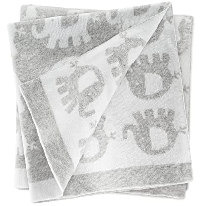 Fillikid Manta para bebé Elefantes 100x75 cm / Arrullo / Mantita de punto para minicuna,