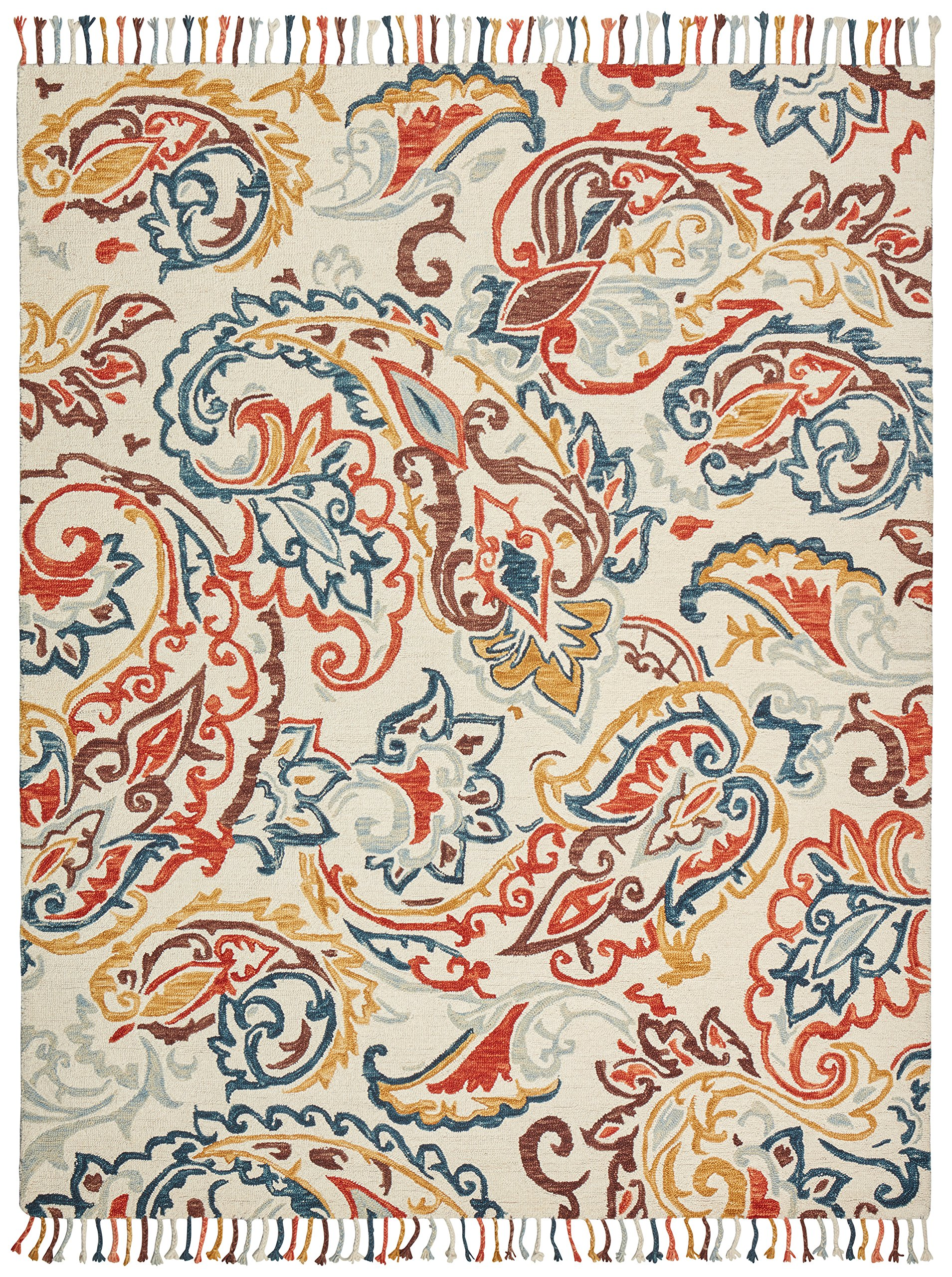 Stone & Beam Swirling Paisley Motif Wool Area Rug, 5' x 8', Multi by Stone & Beam