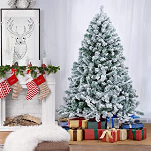 Topeakmart Unlit Artificial Christmas Tree Flocked with White Snow,Xmas Tree for Holiday Decoration-6ft