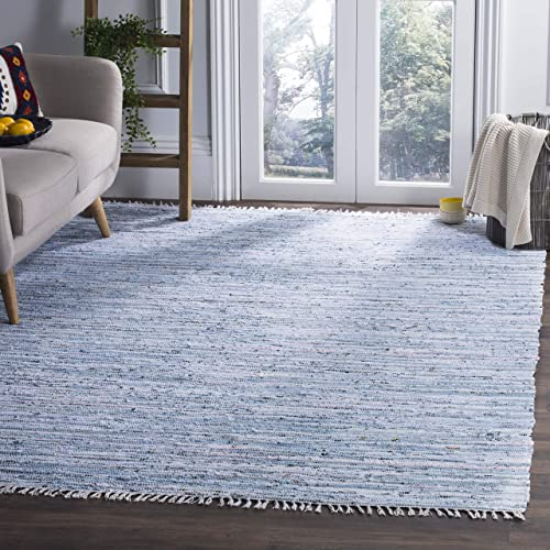 Safavieh Rag Rug Collection RAR125A Hand Woven Light Blue and Multi Cotton Area Rug 9 x 12