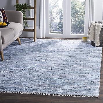 Amazon Com Safavieh Rag Rug Collection Rar125a Hand Woven Light Blue And Multi Cotton Area Rug 2 3 X 3 9 Furniture Decor