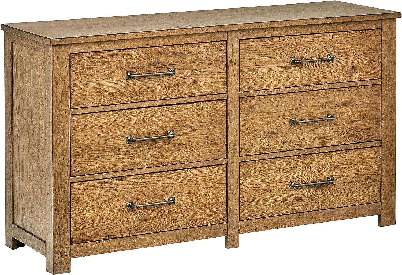Stone Beam Parson 6-Drawer Wood Bedroom Dresser, 60 W, Natural