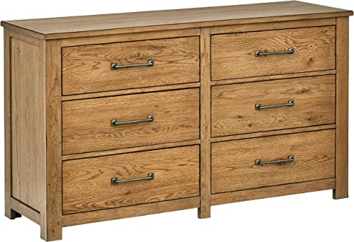 Stone Beam Parson 6-Drawer Wood Bedroom Dresser, 60 W, Natural