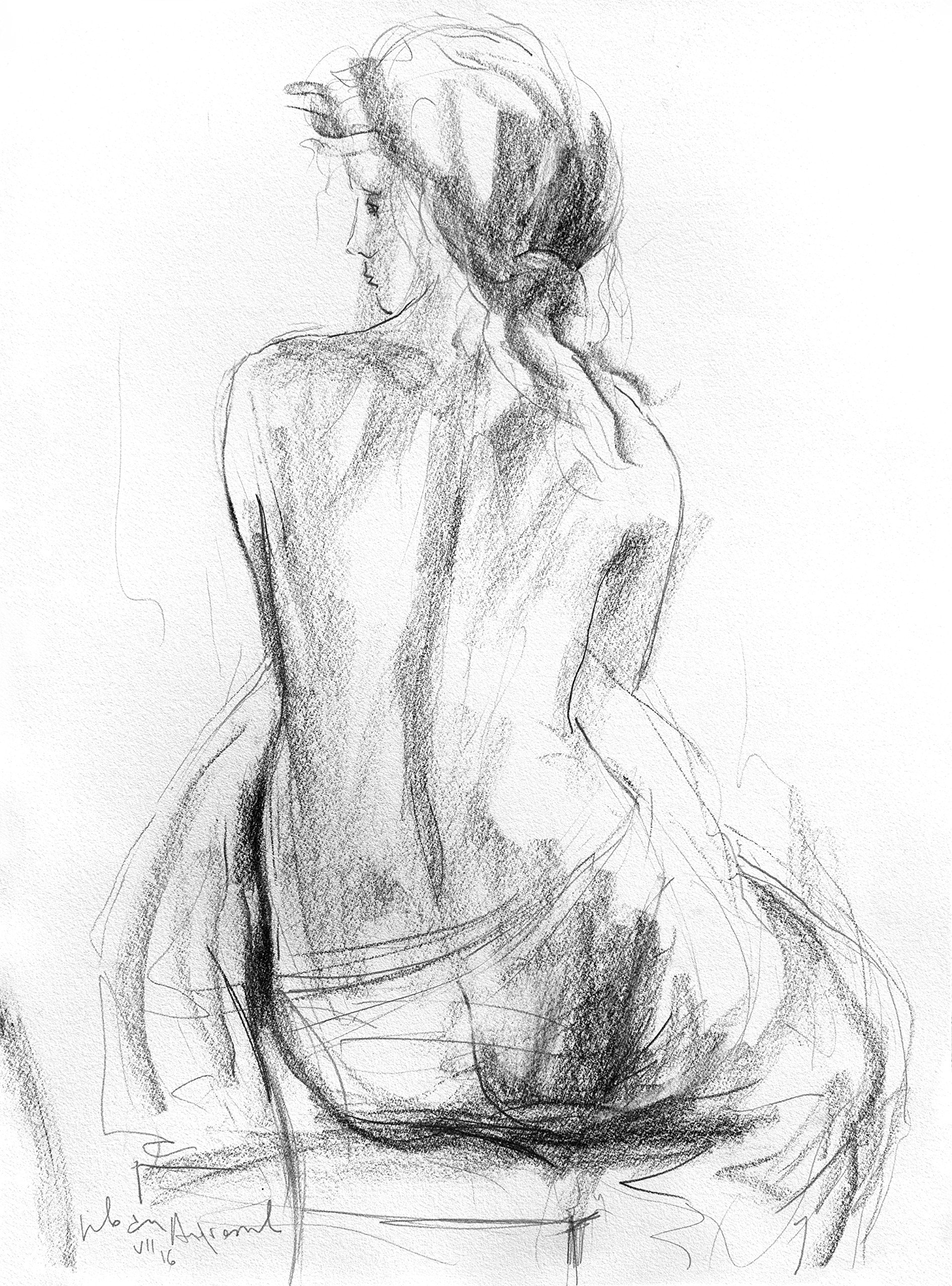 Original charcoal drawing Black and white Artistic sketch Nude Woman Modern Figurative art Wall decor