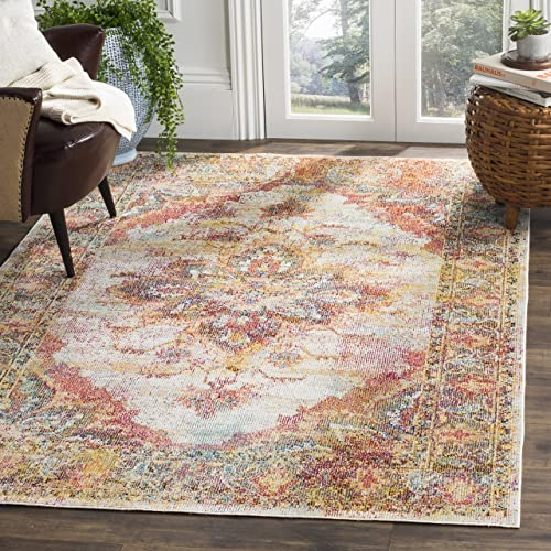 Cheap Safavieh Crystal Collection CRS508V Boho Chic Oriental Medallion Distressed Non-Shedding Stain Resistant Living Room Bedroom Area Rug living room rug for sale