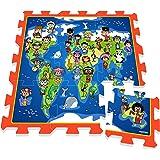 Stamp - Tp674005 - Puzzle De Sol - Je Découvre Le Monde Avec Les Enfants Et  Les Animaux Du Monde - Tapis Mousse - 88 X 88 X 1,5 Cm - 9 Pièces