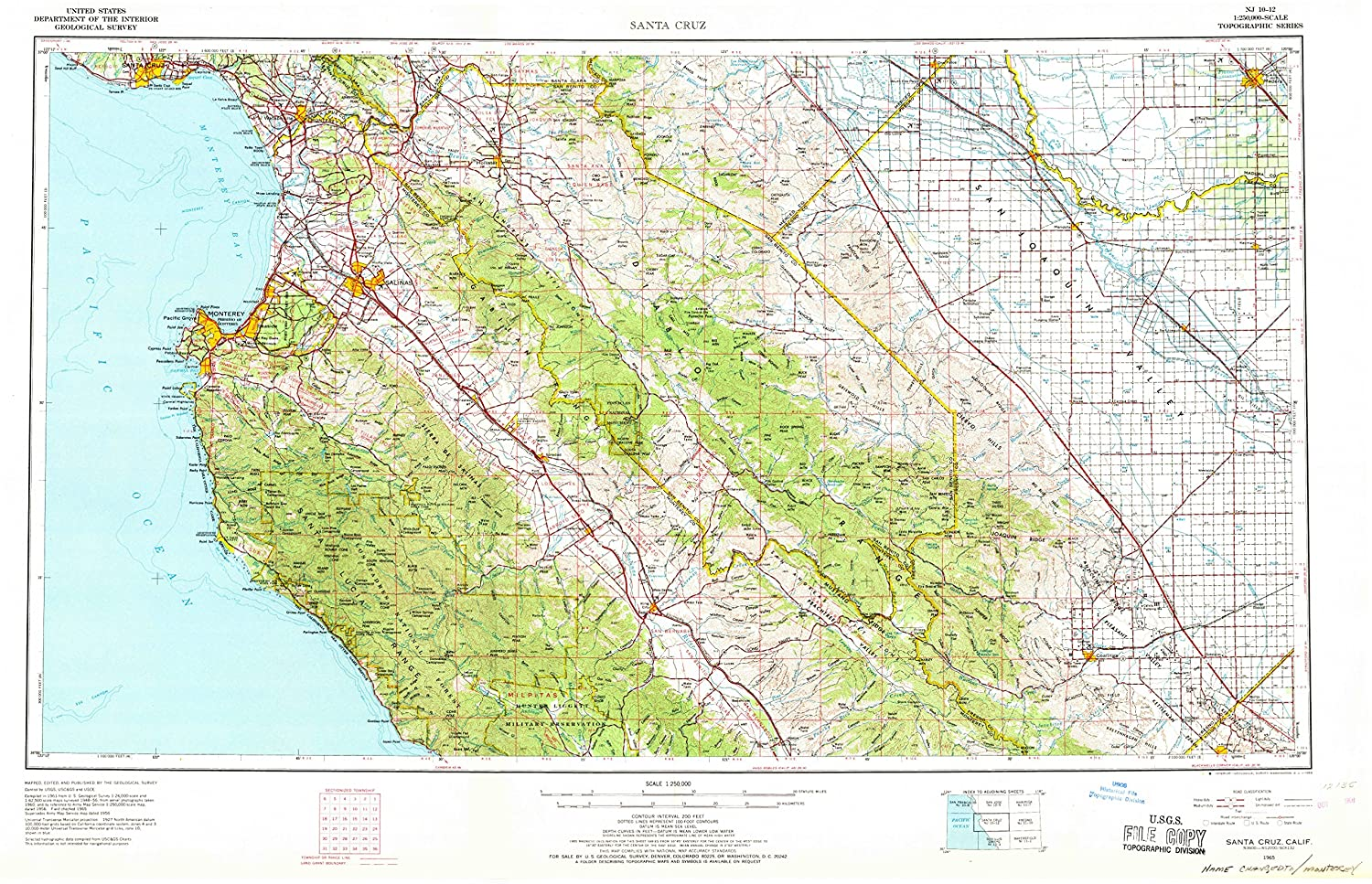Santa Cruz California Map.Amazon Com Yellowmaps Santa Cruz Ca Topo Map 1 250000 Scale 1 X