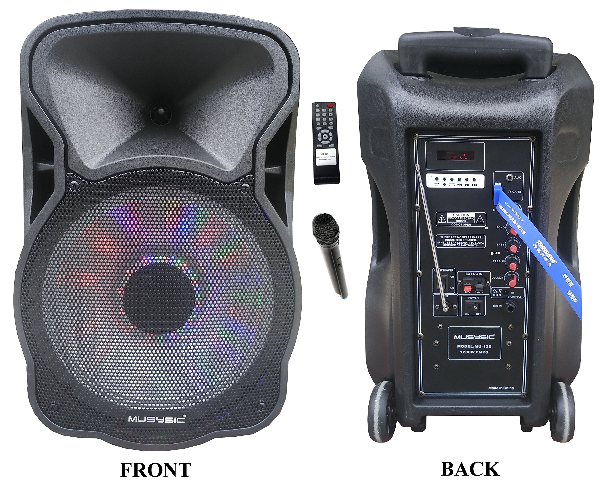 12'' Portable 1200W Speaker PA System Wireless Mic Bluetooth/REC/USB/SD/FM/Rechargeable battery/LCD Light MU-12D