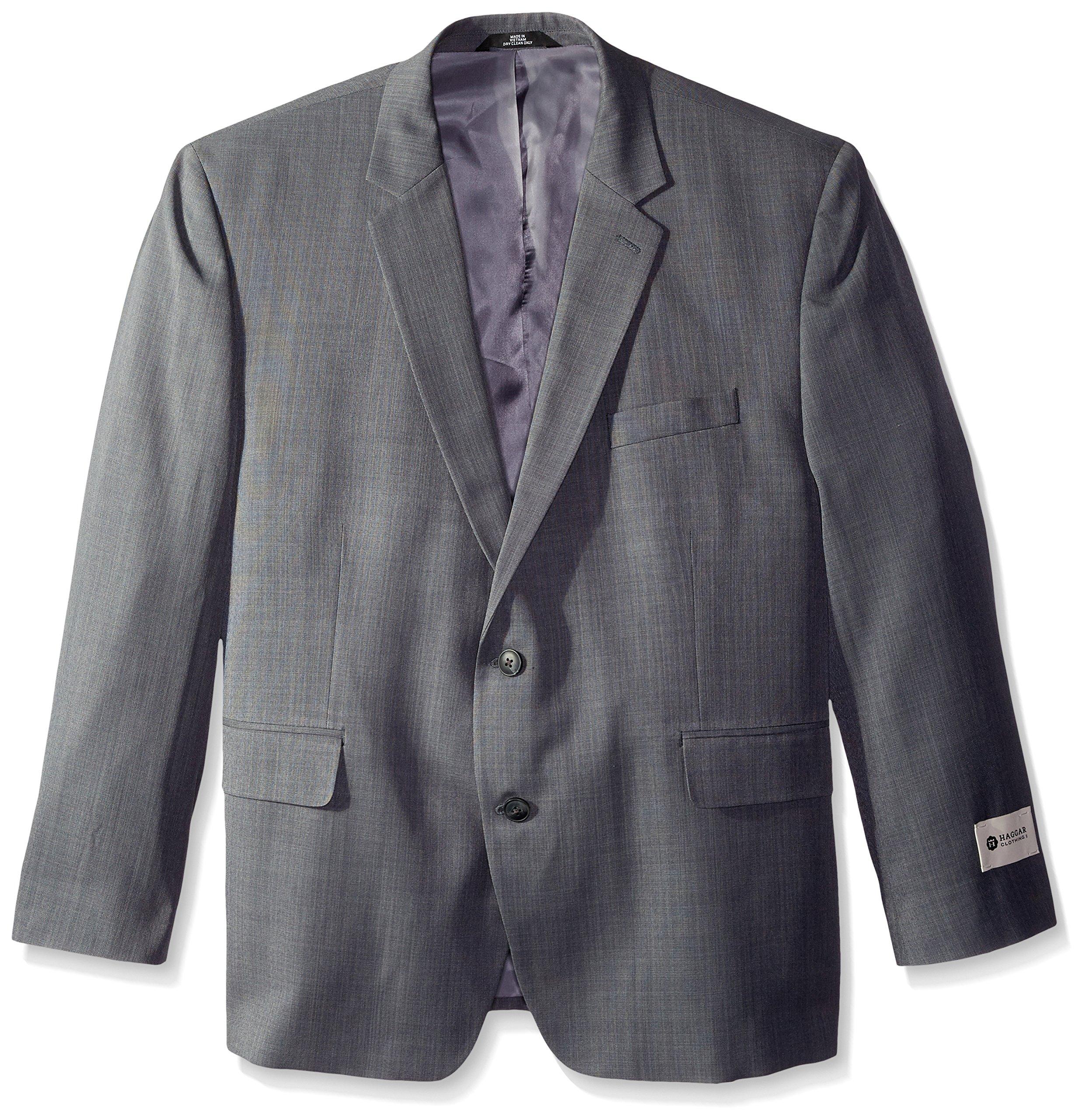 Haggar Men's Big-Tall Performance Stria Gabardine Classic Fit Suit Separate Coat, Graphite, 56 Long by Haggar