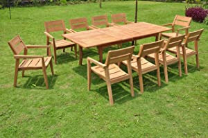"11 PC A Grade Outdoor Patio Teak Dining Furniture Set - 94"" Double Extension Rectangle Table & 10 Vellore Stacking Arm Chairs"