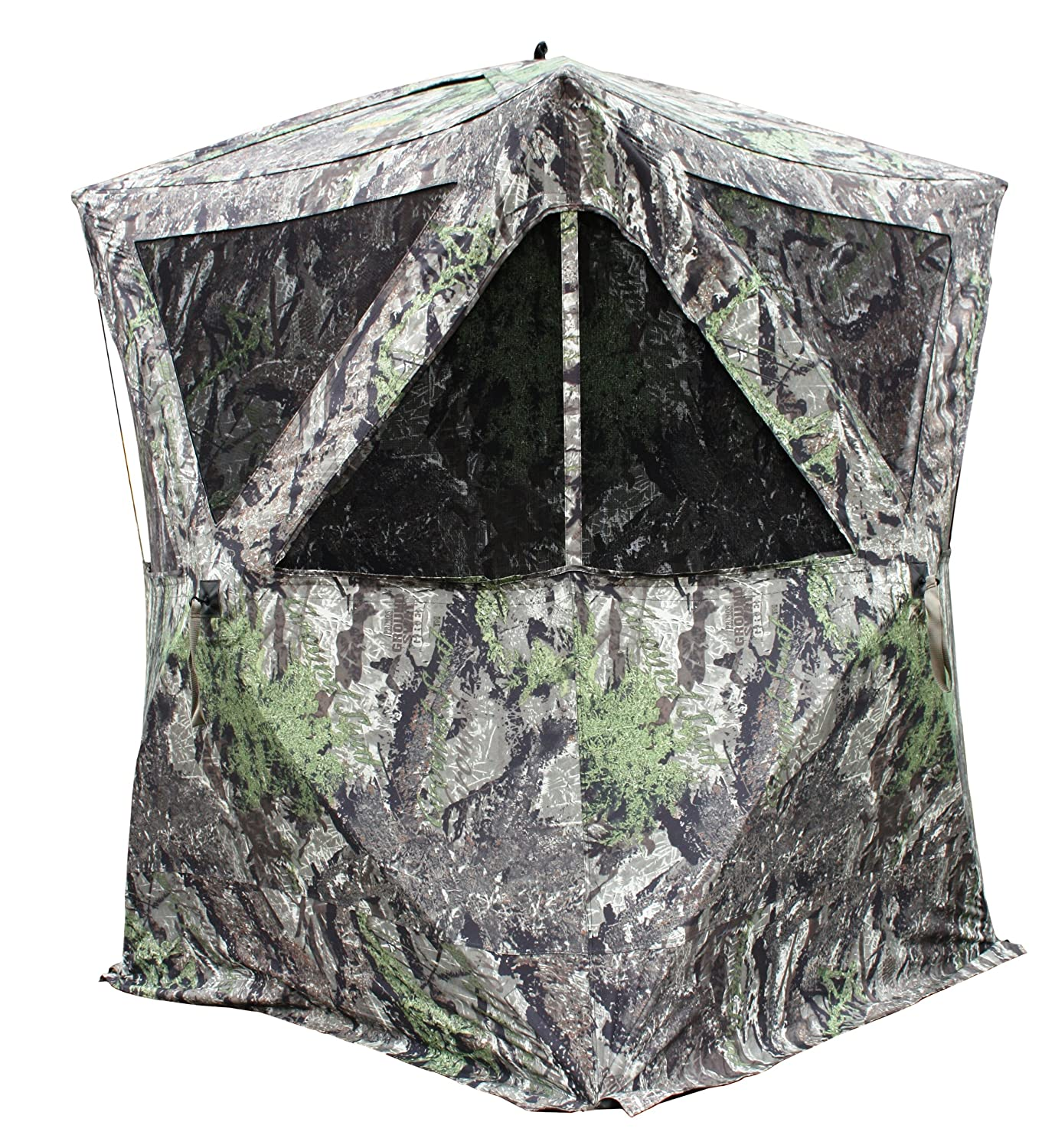 setup a double rapid from accommodate hub easily shack blind to ground design camo the itm hunting enough blinds utilizes swat large for primos bull hunters attack two