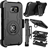 Note 5 case, Kaptron (TM) Galaxy Note 5 hybrid dual layer combo armor defender protective case with kickstand and belt clip for Samsung Galaxy Note 5 (Black)