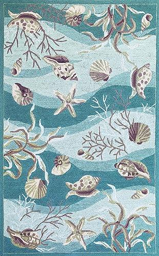 Kas Rugs 2003 Sonesta Shells Area Rug, 5-Feet by 7-Feet 6-Inch, Seafoam