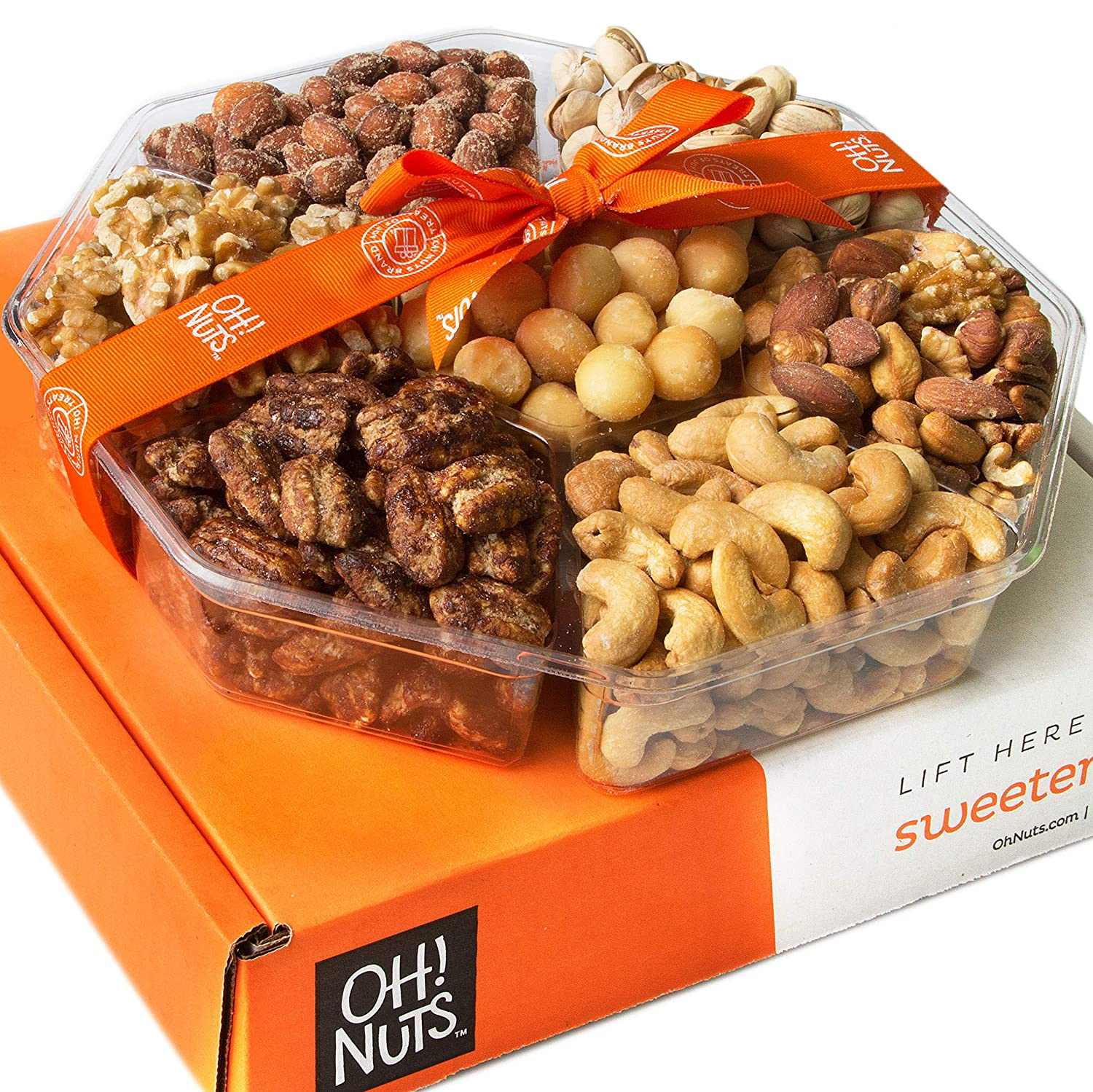 Oh! Nuts Christmas, Gourmet Nut Gift Baskets, Jumbo 2LB 7 Variety Holiday Freshly Roasted Tray, Thanksgiving Mothers & Father's Day Gifts, Prime Basket Idea for Men & Woman Birthday, Sympathy