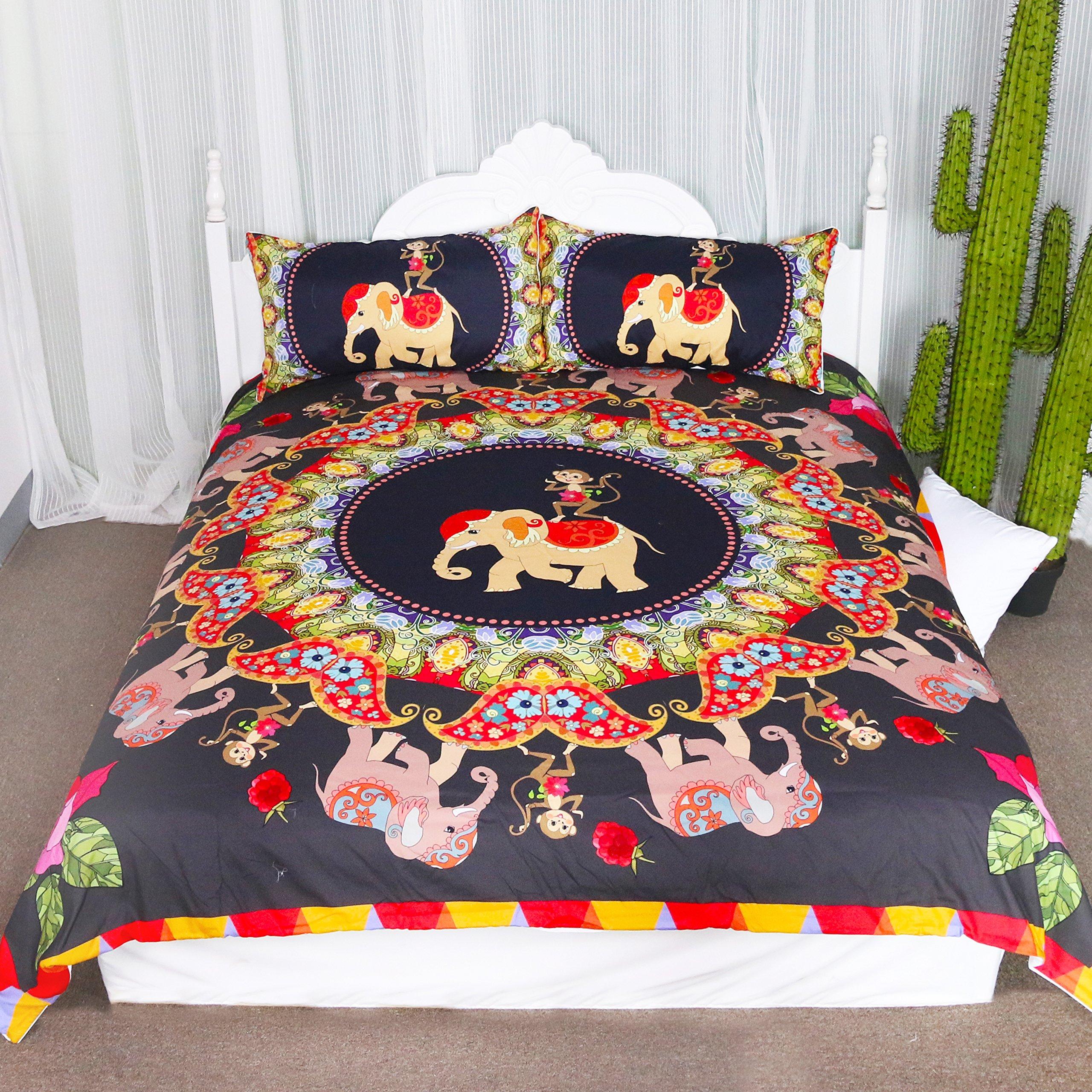 Elephant and Monkey Duvet Cover Set 3 Pieces Jungle Animal Friends Print Bedspread Coverlet Set Safari Gift Ideas Bedding Set (Queen)