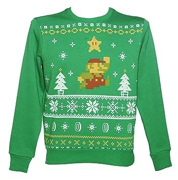 Mens Green Nintendo Super Mario Brothers Fair Isle Sweater, Sports ...