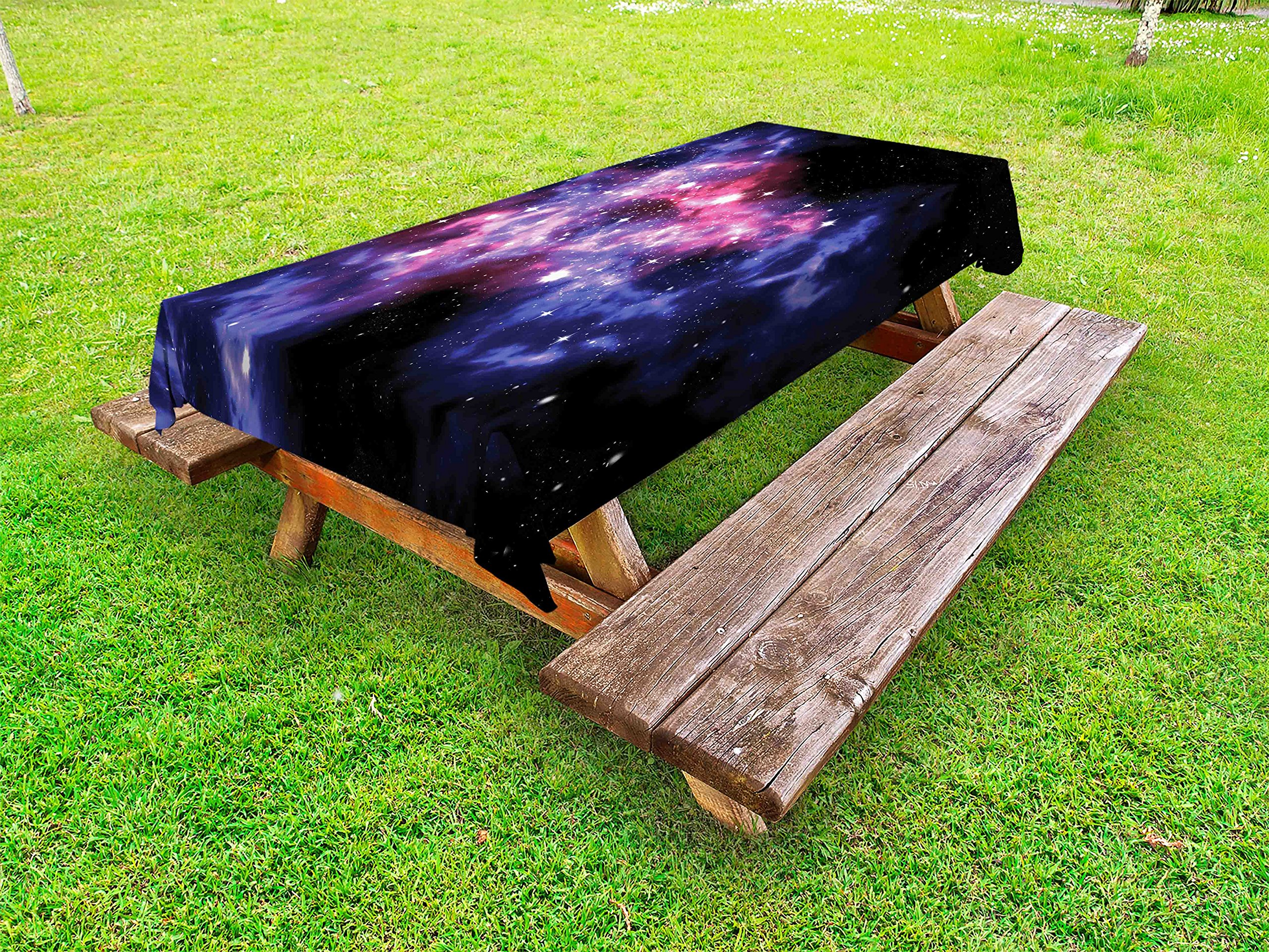Lunarable Outer Space Outdoor Tablecloth, Dusty Gas Cloud Nebula and Star Clusters in The Outer Space Cosmos Solar Print, Decorative Washable Picnic Table Cloth, 58 X 84 inches, Navy Purple