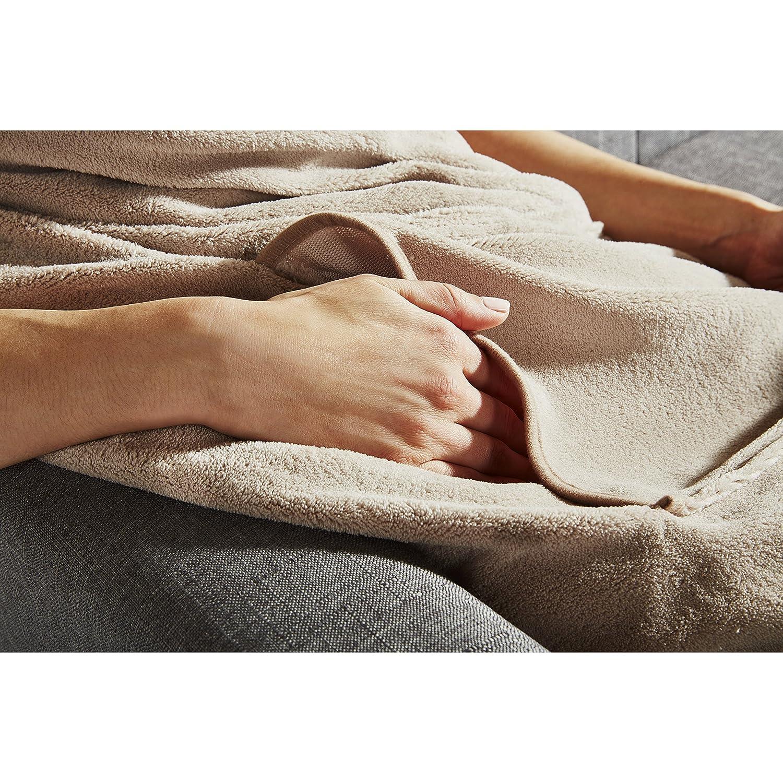 3 Heat Settings Slate 31160305 Sunbeam Heated Throw Blanket Dual Pocket Microplush