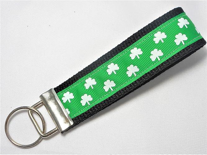 Key Fob Keychain >> Amazon Com Irish Shamrock Ribbon Wristlet Key Fob Keychain Handmade