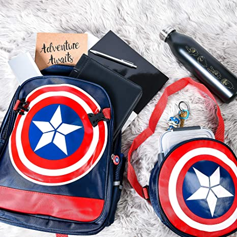Skootz Captain America Waterproof Comic Bookbag - Marvel Avengers Backpack for School Boys - Light Reflective - Includes Mini Captain America Toy ...