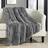 "Chic Home Elana Shaggy Faux Fur Supersoft Ultra Plush Decorative Throw Blanket, 50 x 60"", Silver"