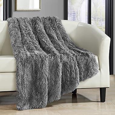 Chic Home Elana Cozy Super Soft Ultra Plush Decorative Shaggy Faux Fur Throw Blanket, 50  x 60 , Silver