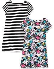 Amazon Brand - Spotted Zebra Girls' Toddler & Kid 2-Pack Knit Short-Sleeve A-Line T-Shirt Dresses