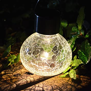 Sogrand 2pc Pack Crackle Glass Jar,Solar Lights Outdoor,Sit Or Hang,