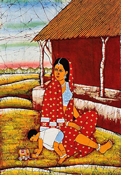 Exotic India Mother and Child - Batik Painting On Cotton