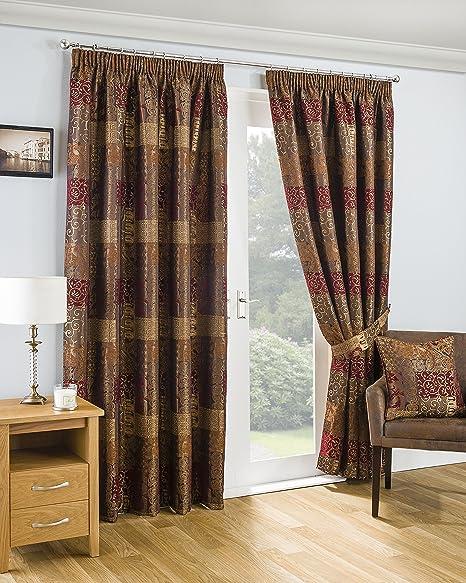 Sundour Casablanca Curtains Pencil Pleat Jacquard Terracotta 66 X 72 Inches Amazon Co Uk Kitchen Home