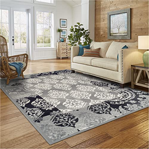Superior Modern Mystique Collection Area Rug, 8mm Pile Height with Jute Backing, Elegant Mulit-colored Damask Pattern, Anti-Static, Water-Repellent Rugs – Black Grey, 8 x 10 Rug