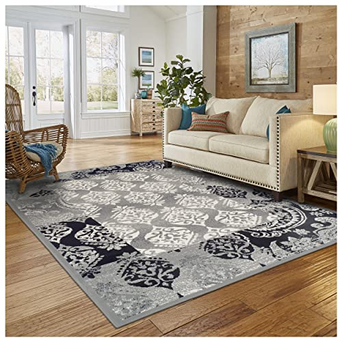 Superior Modern Mystique Collection Area Rug, 8mm Pile Height with Jute Backing, Elegant Mulit-colored Damask Pattern, Anti-Static, Water-Repellent Rugs – Black Grey, 5 x 8 Rug