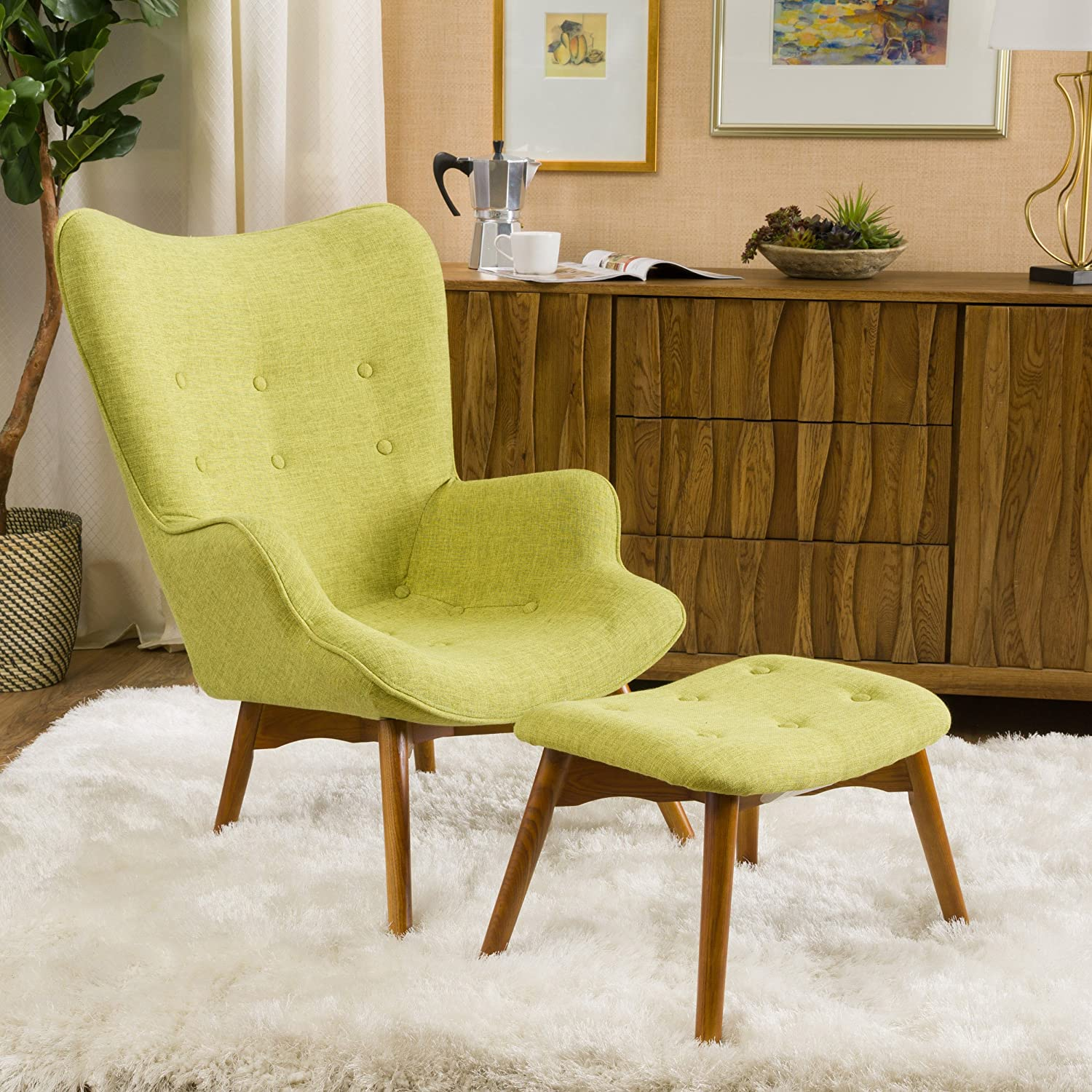 Amazon.com Acantha Mid Century Modern Retro Contour Chair with Footstool Kitchen u0026 Dining & Amazon.com: Acantha Mid Century Modern Retro Contour Chair with ...