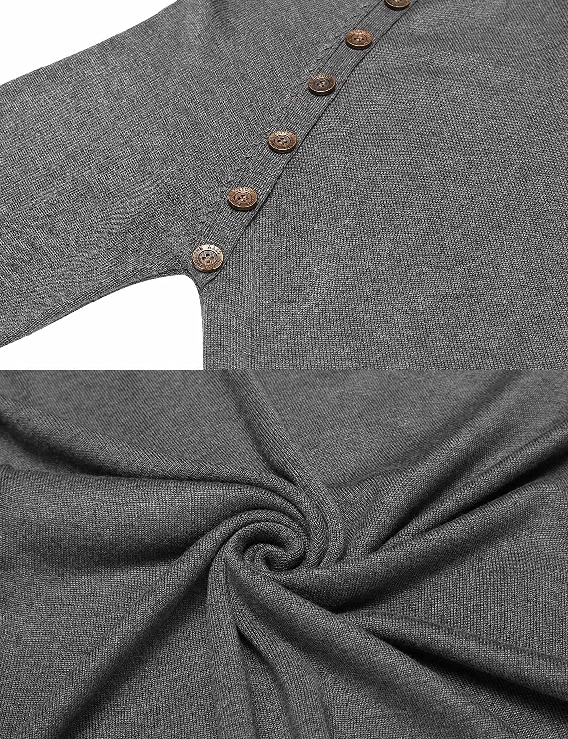COOFANDY Mens Knitted Ribbed Turtleneck Pullover Sweaters with Buttons